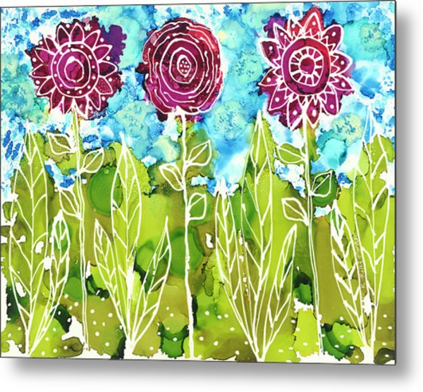 Metal Print featuring the painting Flower Power by Kathryn Riley Parker
