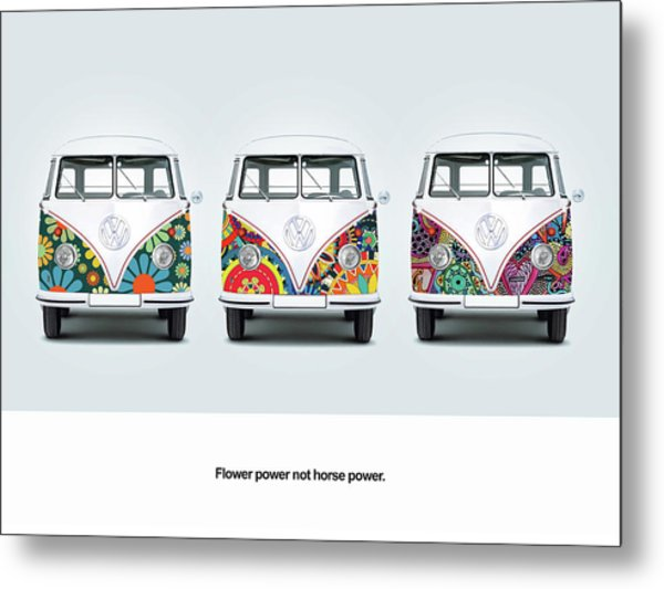 Flower Power Vw Metal Print