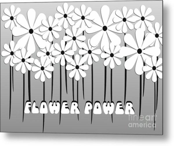 Flower Power - White  Metal Print