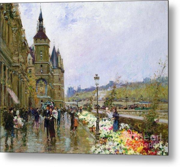 Flower Sellers By The Seine Metal Print