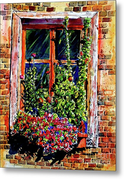 Flower Window Metal Print