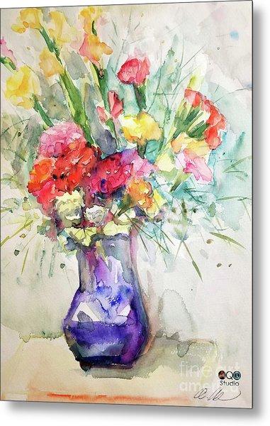 Flower With Purple Vase Metal Print