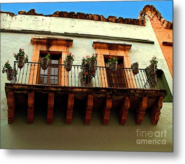 Flowered Balcony Metal Print by Mexicolors Art Photography