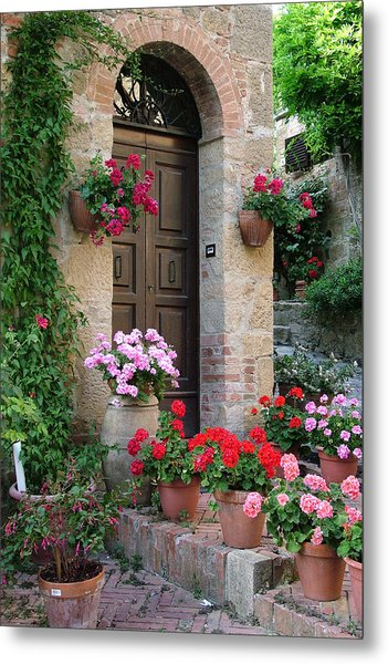 Flowered Montechiello Door Metal Print