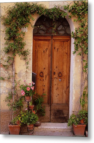 Flowered Tuscan Door Metal Print