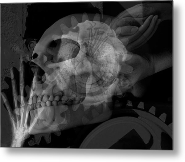 Flowering Skull Fossil Rewire Metal Print by Leigh Odom