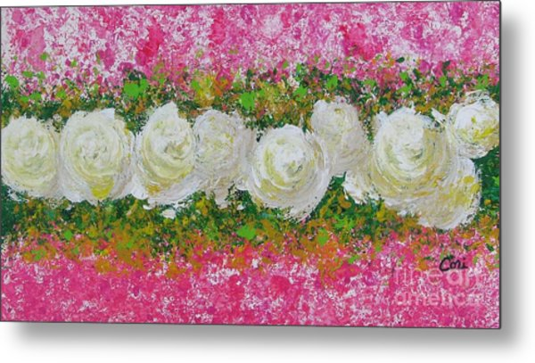 Flowerline In Pink And White Metal Print
