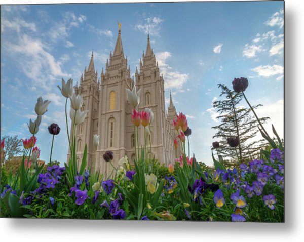 Flowers At Temple Square Metal Print
