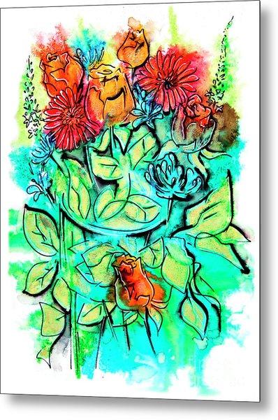 Flowers Bouquet, Illustration Metal Print