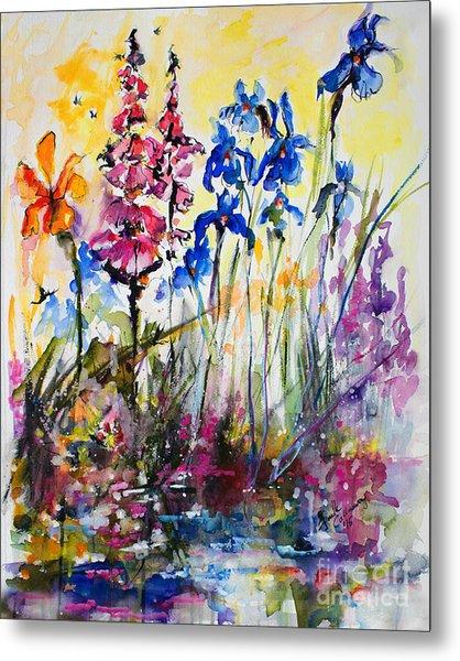 Flowers By The Pond Blue Irises Foxglove Metal Print
