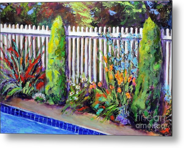 Flowers By The Pool Metal Print