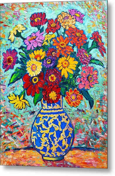 Flowers - Colorful Zinnias Bouquet Metal Print