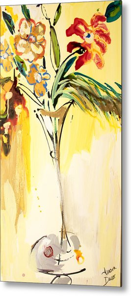 Flowers Flowing In Yellow Metal Print