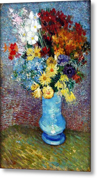 Metal Print featuring the painting Flowers In A Blue Vase  by Van Gogh