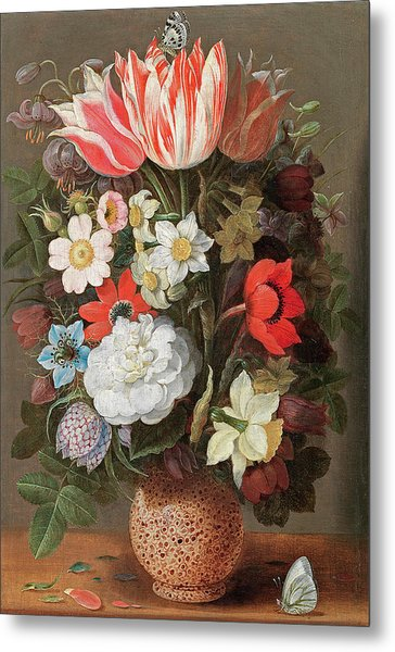 Flowers In A Serpentine Vase Metal Print