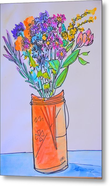 Flowers In An Orange Mason Jar Metal Print