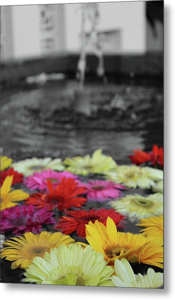 Flowers In Fountain Metal Print