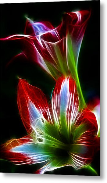Flowers In Green And Red Metal Print
