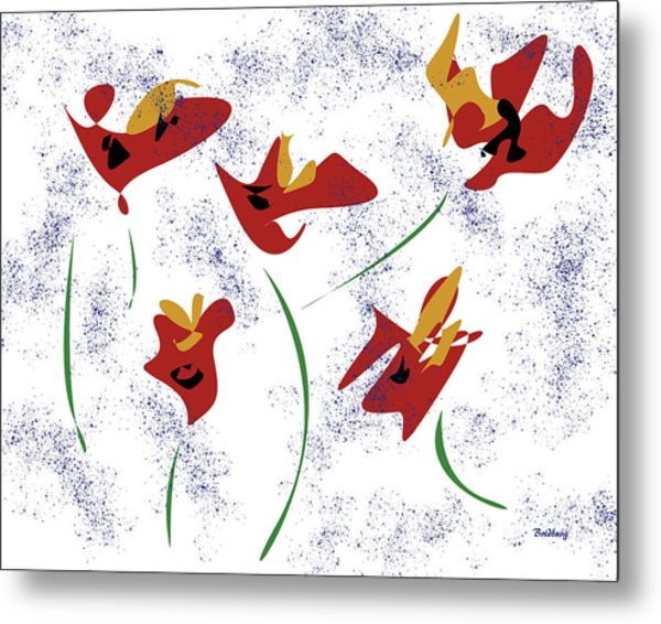 Flowers In The Wind Metal Print