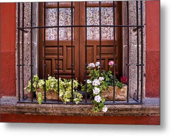 Flowers In Window Box San Miguel De Allende Metal Print
