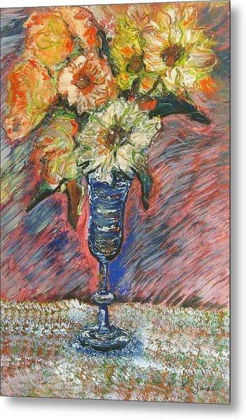 Flowers In Wine Glass Metal Print