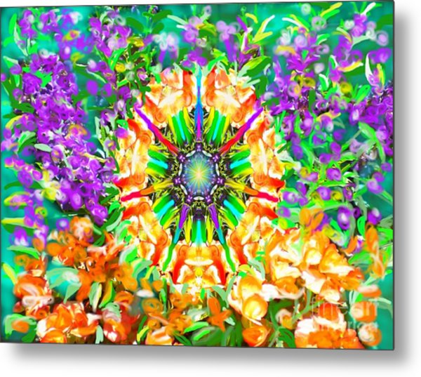 Metal Print featuring the painting Flowers Mandala by Hidden Mountain