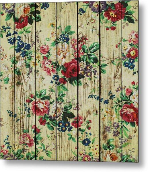 Flowers On Wood 01 Metal Print