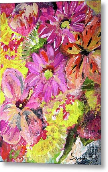 Flowers Painting Metal Print by Oksana Semenchenko
