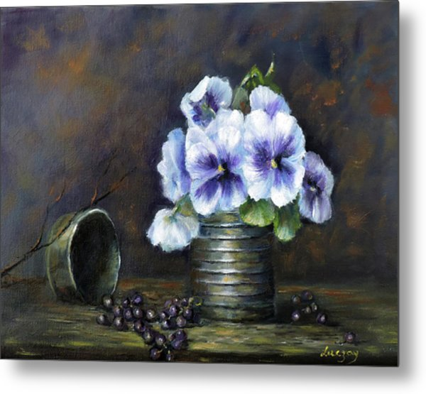 Metal Print featuring the painting Flowers,pansies Still Life by Katalin Luczay
