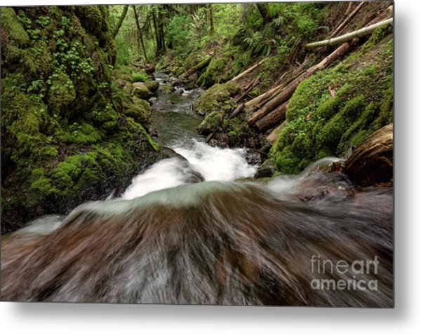 Flowing Downstream Waterfall Art By Kaylyn Franks Metal Print