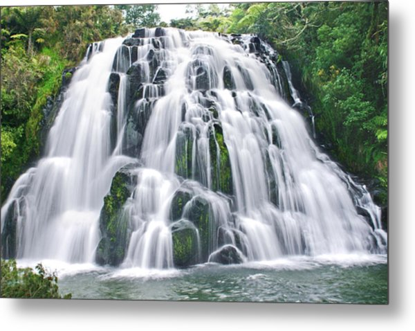 Flowing Ice Metal Print by Andrea Cadwallader