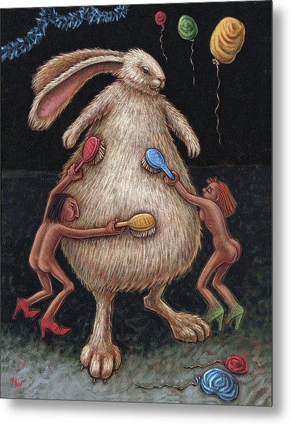 Fluffing The Bunny Aka Grooming The Bride Metal Print
