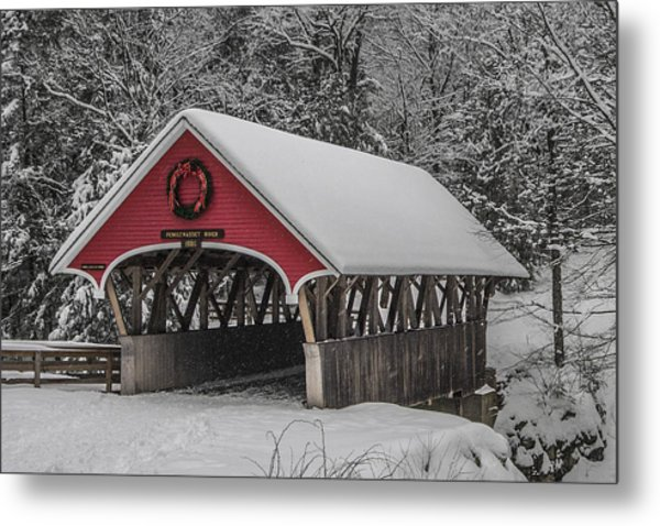 Flume Covered Bridge In Winter Metal Print