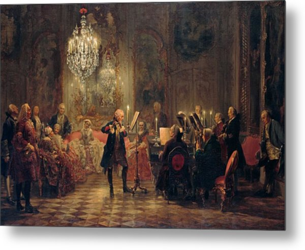Metal Print featuring the painting Flute Concert With Frederick The Great In Sanssouci by Adolph Menzel