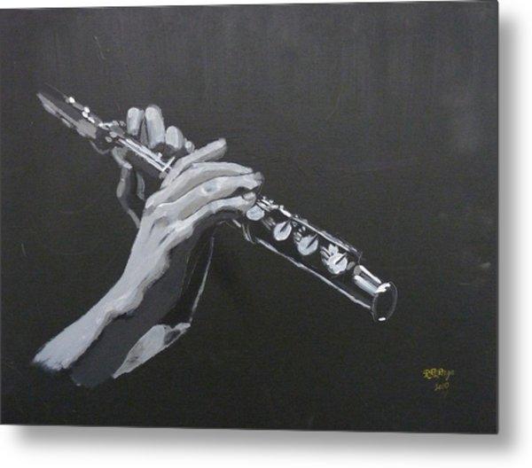 Flute Hands Metal Print