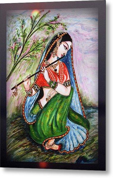 Flute Playing In - Krishna Devotion  Metal Print