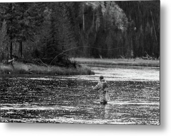 Fly Fishing Yellowstone Wy B W Metal Print