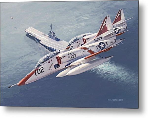 Fly Navy Metal Print