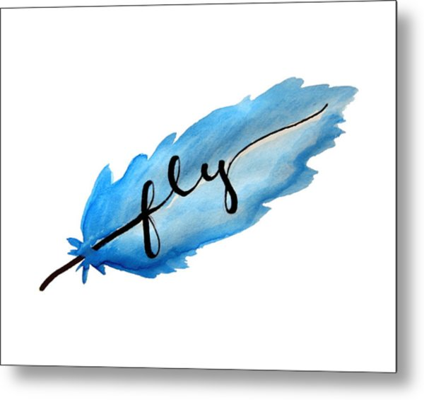 Fly Watercolor Feather Horizontal Metal Print