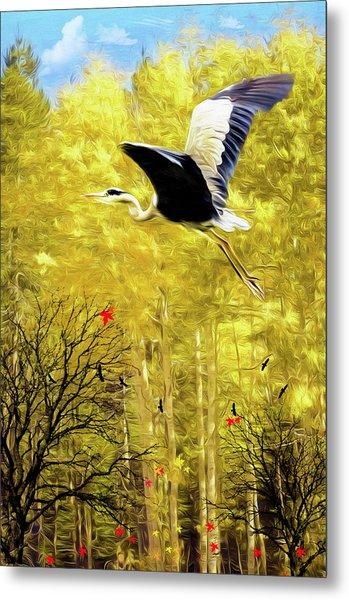 Flying Against The Wind Metal Print