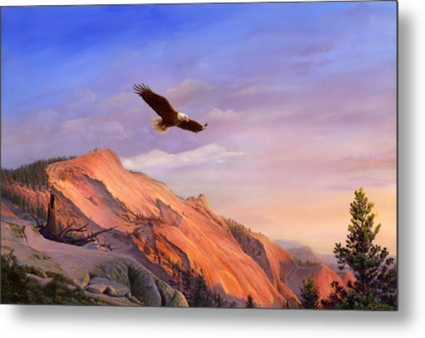 Flying American Bald Eagle Mountain Landscape Painting - American West - Western Decor - Bird Art Metal Print
