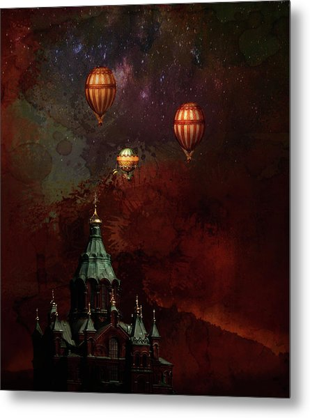 Flying Balloons Over Stockholm Metal Print