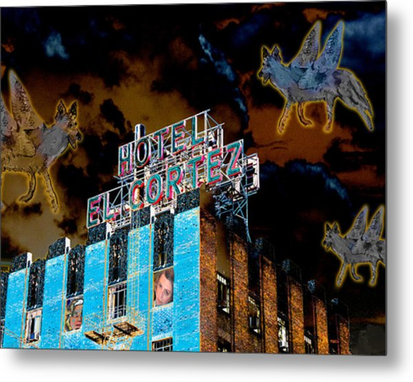 Flying Coyotes Circling The El Cortez Hotel Metal Print
