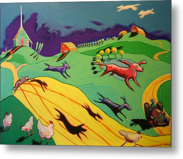 Flying Dog Farm Metal Print by Robert Tarr