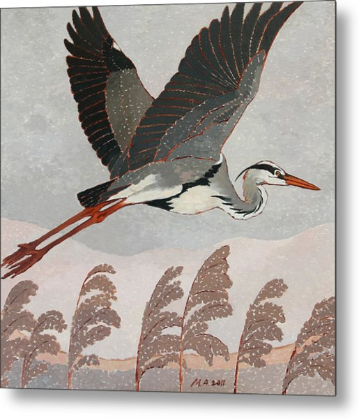 Flying Heron Metal Print