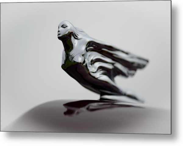 Flying Lady Hood Ornament Metal Print