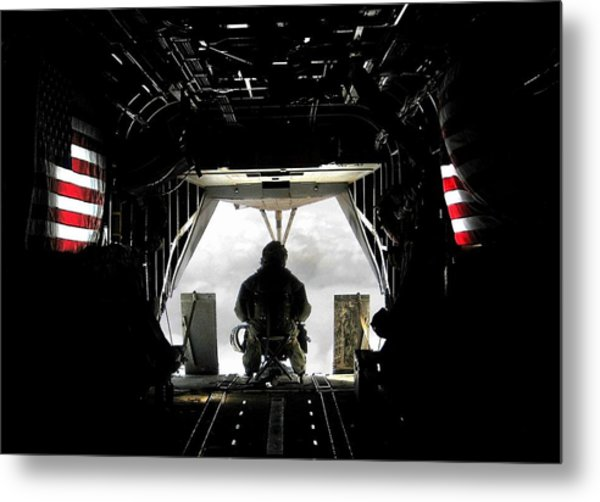 Flying With The Stars And Stripes In Afghanistan Metal Print