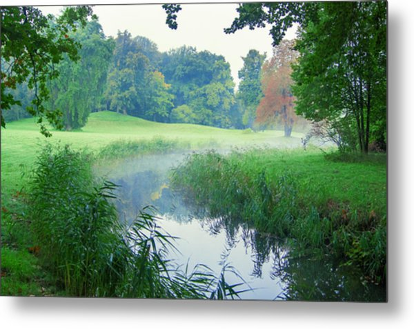 Fog Along A Creek In Autumn Metal Print