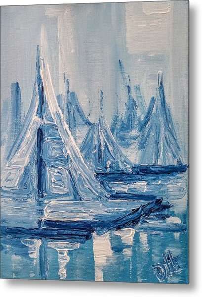 Metal Print featuring the painting Fog And Sails by Jennifer Hotai