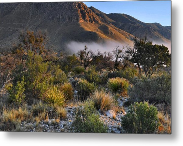 Fog At Sunrise - Guadalupe Mountains Metal Print